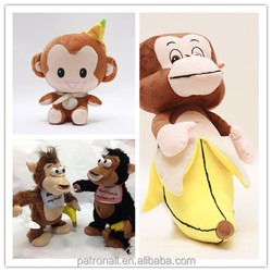 Motion sensor sound chips 2015 hot sale Lovely Stuffed Toy Monkey