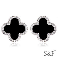 MLE84 Silver Gold Plated Black Agate Four leaves Earring