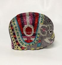 rhinestone crystal clutches animal crystal bags