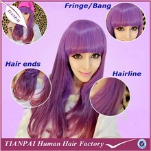 Attractive cheap heat resistant fiber women fashion full lace purple synthetic wigs with baby hair