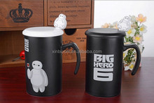 creative baymax black and white dull poilish stright ceramic mug with lid and spoon