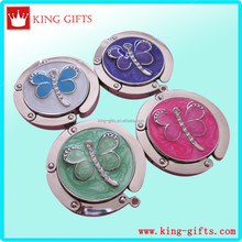 Zinc alloy die casting Purse hook with green butterfly