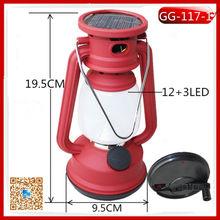 GG-117-1 dynamo solar and hand crank lamp 12+3 led camping lantern
