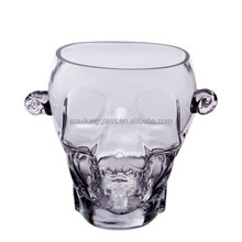 Handmade glass skull Ice Bucket with handle.