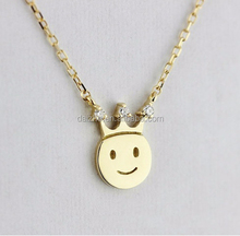 2015 factory wholesale 925 sterling silver crown disc smile face pendant silver necklace