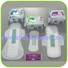 Feminine hygiene blue core bio sanitary pad, brands for supermarket