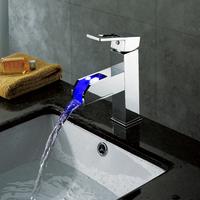 led face basin faucet square Led basin faucet brass led tap LD8005-09A