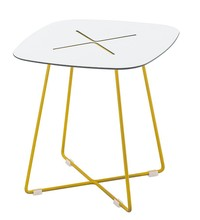 Modern Yellow Metal Legs White Square Wood Top Fancy Coffee Table Sofa Side Table Fancy Wooden Table