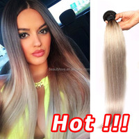 2015 Most Popular Colored Brazilian Hair Weave, Hot Wholesale Gray Hair Weave