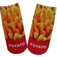 GSP-33 GS women polyester knitted tube all over print socks with potato french fries design