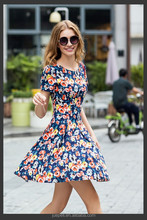 OEM women clothing 2015 plus size floral print women dress