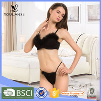 Christmas Gift New Style Push Up Mature Lady Black High Quality Bra And Panty Sets