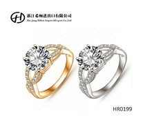 HR0199 Unique design hollow 18K gold/platinum plated fashion women rings Jewelry Clear Zircon