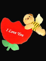 Fashion design valentines day gift cuddly stuffed plush flying bee baby toy with rose