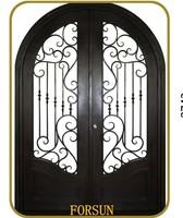 Round top wrought iron double doors with transom for villa Wrought iron exterior main door design Wrought iron security door