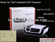 Hottes!!! C7 -wifi built-in ,Android built-in 1080p android 4.0 portable projector,1.2 kg