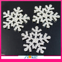 4.5cm silver plating snowflake crystal rhinestone buckle button for decoration