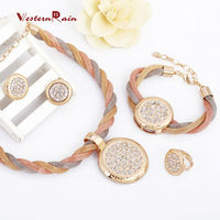 China Jewelry Wholesale double color 18K gold plated chunky Necklace&Bracelet& Earrings & Ring Wedding Jewelry Set A134