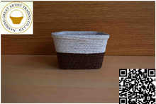 Hot new products for 2015 plastic flower pot straw material in white+brown color in square shape