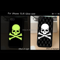 skull pattern for iphone 5/6 case soft TPU glow case