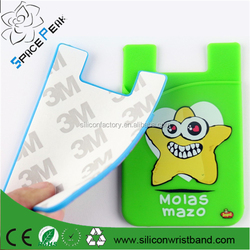 Silicone smart wallet back card holder 3M self adhesive, silicone rubber card holder for iPhone 5 5s Samsung i9500