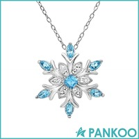 Beautiful 925 silver blue snowflake crystal pendant necklaces