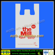one color printing milky white plastic t shirt shopping bags