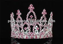 Wholesale Pink Flower Girl / Baby Rhinestone Full Circle Round Mini Tiara Crown CT1741