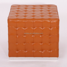 Modern furniture cube ottoman brown leather ottomans