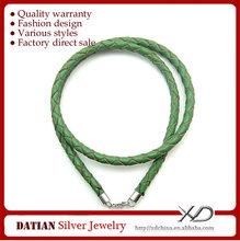 XD MS030 5MM плетеный кожаный шнур ожерелье с 925 серебряных застежка