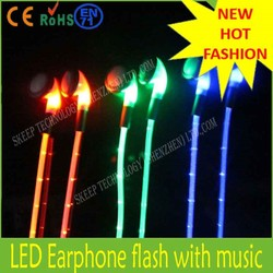 led flashing wired earbud with mp3 Frequency range: 20Hz-20,000Hz Cable 1.2m TPE/PVC
