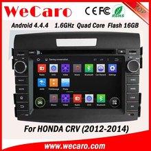 WECARO China Factory HD 1080P Pure Android 4.4.4 2 Din Car Dvd For Honda CRV