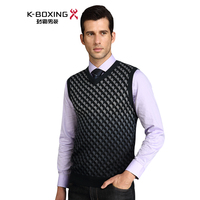 K-boxing autumn commercial male sleeveless V-neck plaid color combination sweater
