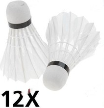 Wholesale 12 Pcs Training White Feathe Shuttlecock Badminton Ball Sport Game