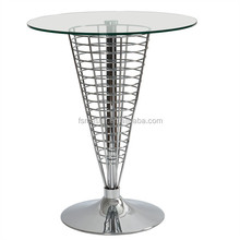 living room steel rod base glass round top dining table