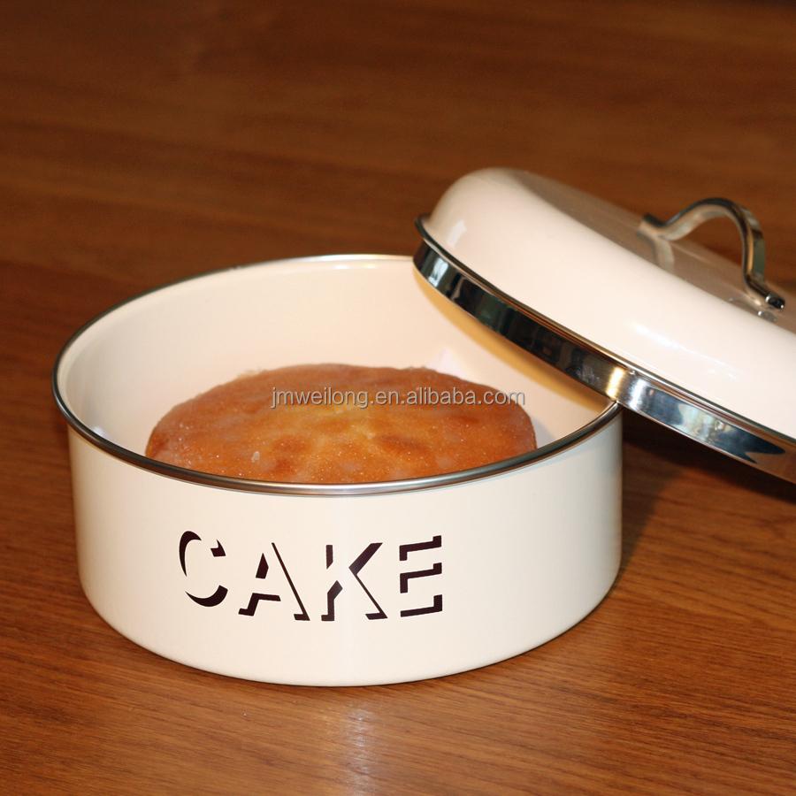 Ronde emaille metalen keuken opslag cake tin box opbergdozen& ...
