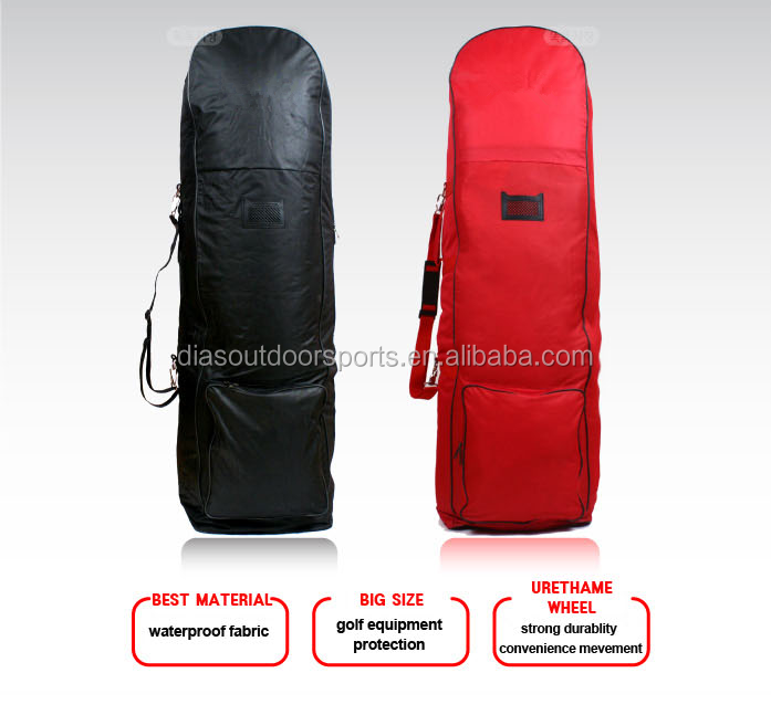 Nylon folding travel golf bag cover with wheels