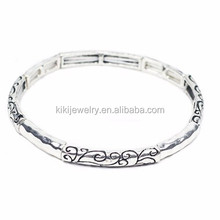 Customized Eco-friendly Zinc Alloy Antique Silver Plated Stretch Engravable Bracelet Jewelry