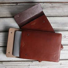 Italian vegetable tanned leather sleeve case for macbook 11 inch
