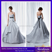 Elegant A-line Sweetheart Flower Ribbon Bottom Low Back Sleeveless Floor Length Black And Silver Wedding Dresses 2012 AC165