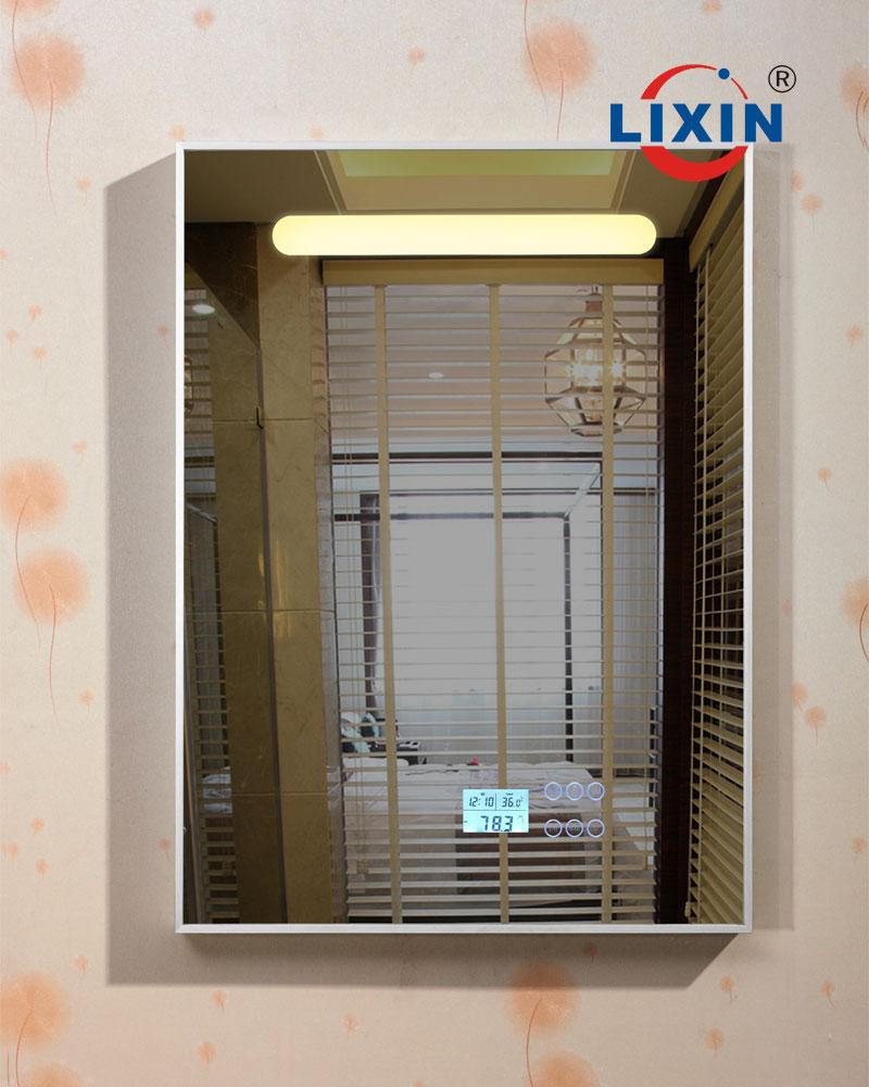 led lumineux miroir de salle de bains avec lecteur mp3 chambre radio et horloge miroir - Miroir Salle De Bain Antibuee Radio
