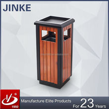 Commercial Street Used Wood Litter Bin, Outdoor Square Waste Bin With Top Ashtray