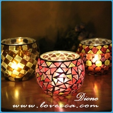 Mosaic glass candle holder,glass material candle holder,top grade candles candles