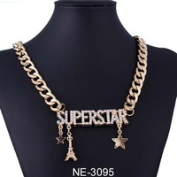 superstar letter Tower necklace star pendant necklace