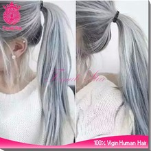 hot fashion human hair grey ponytail lace front dreadlock wig for women