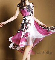 2015 Summer ladies fashion casual chiffon dresses with pictures