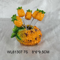 Funny pineapple design ceramic fruit fork holder