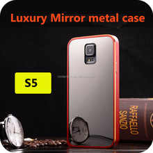 High quality battery case for Samsung galaxy s5 luxury mirror Arc back cover and plated aluminim cover cases S5 cases