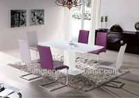 2015 new modern dining set/ luxury fashion purple sofa chairs and white table