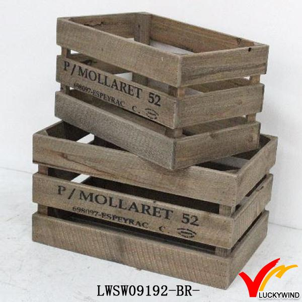 Solid vintage french wooden fruit crates for sale buy for Buy wooden fruit crates